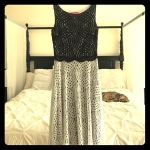Betsy Johnson lace crochet knitted flare 4
